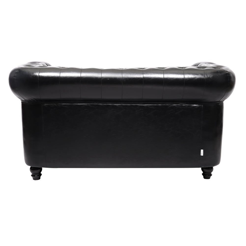 Black PU Leather Chesterfield 2 Seater Sofa
