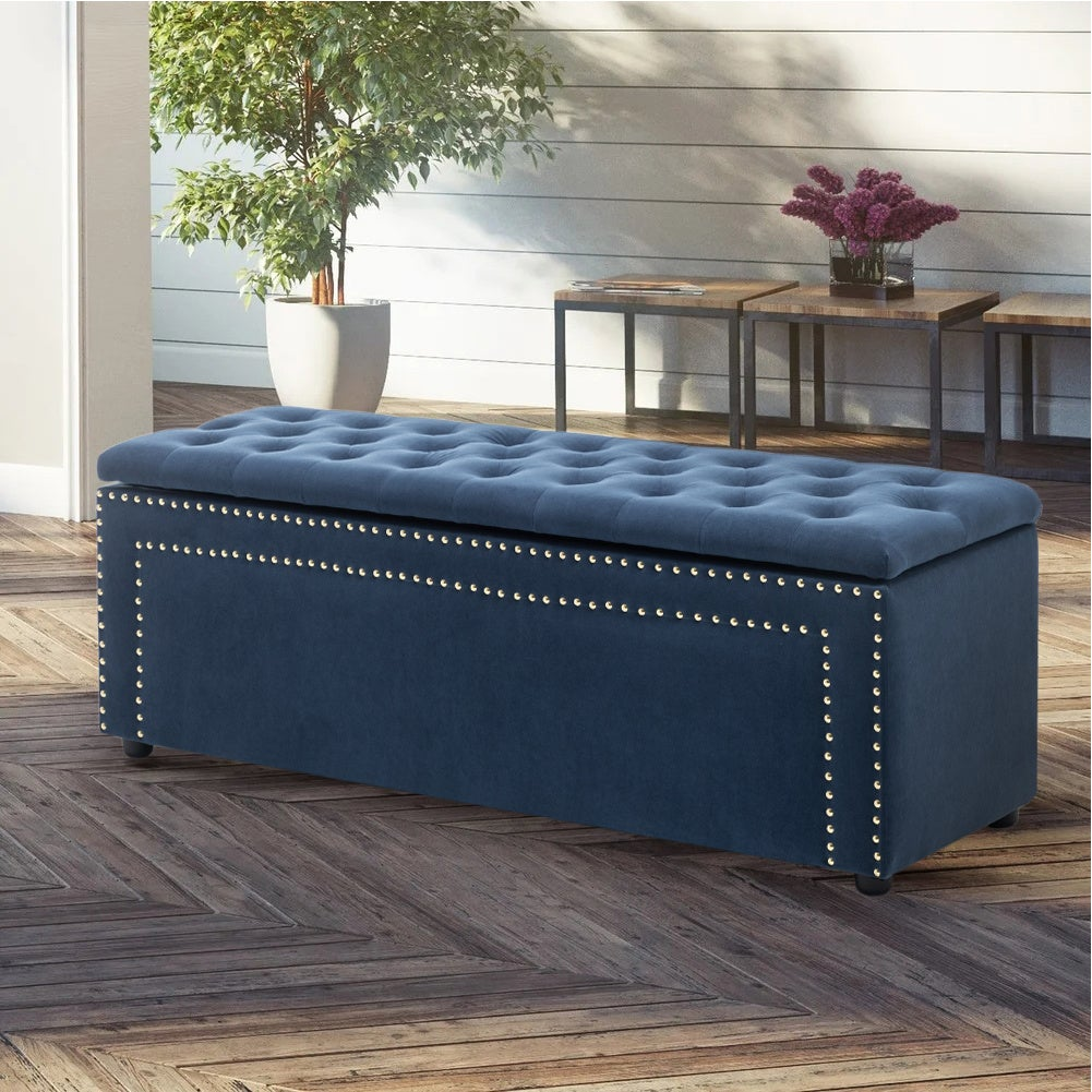 Frosted Velvet Buttoned Storage Bench