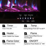 40 Inch Led Electric Fireplace Heater 9 Flame Colours