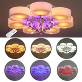 Modern LED Ceiling Light with Rounded Acrylic Lampshades and Crystal Drops