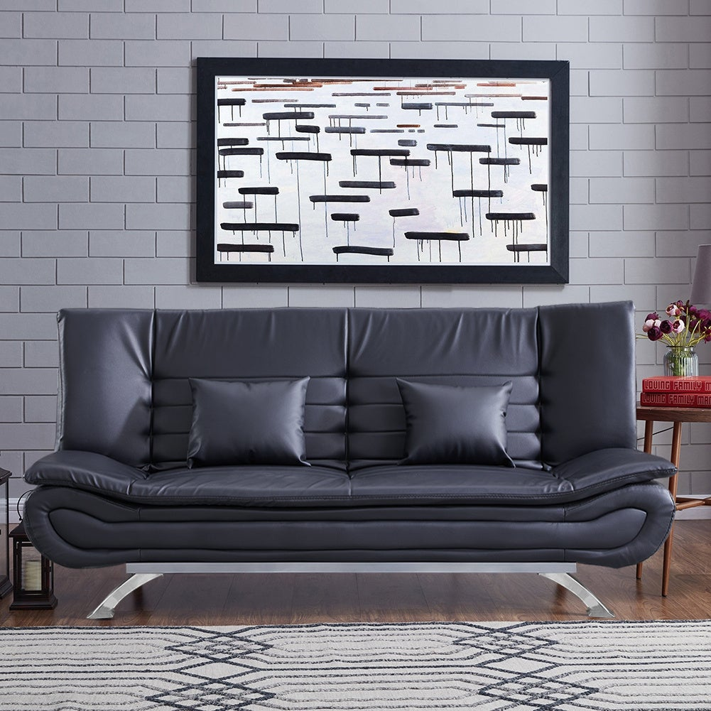 Black Shell 3 Seater Recliner Sofa Bed
