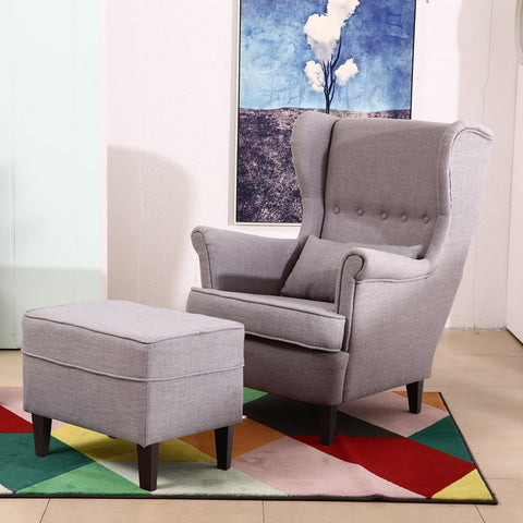 Light Grey Wingback Armchair with Footstool