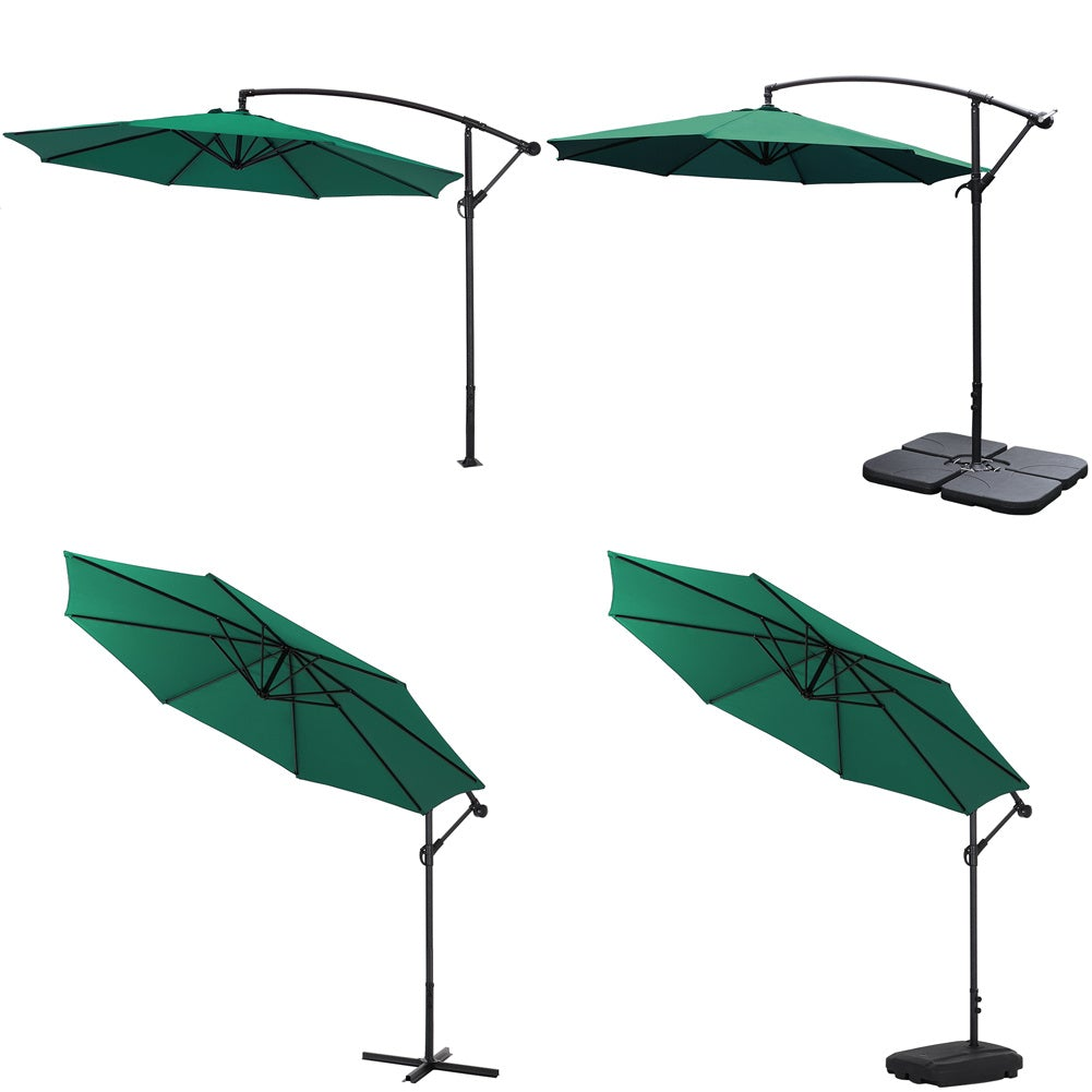 3M Dark Green Sun Parasol Hanging Banana Umbrella