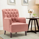 Buttoned Frosted Velvet Wingback Armchair