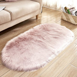 Pink Oval Fluffy Shaggy Sheepskin Area Rugs