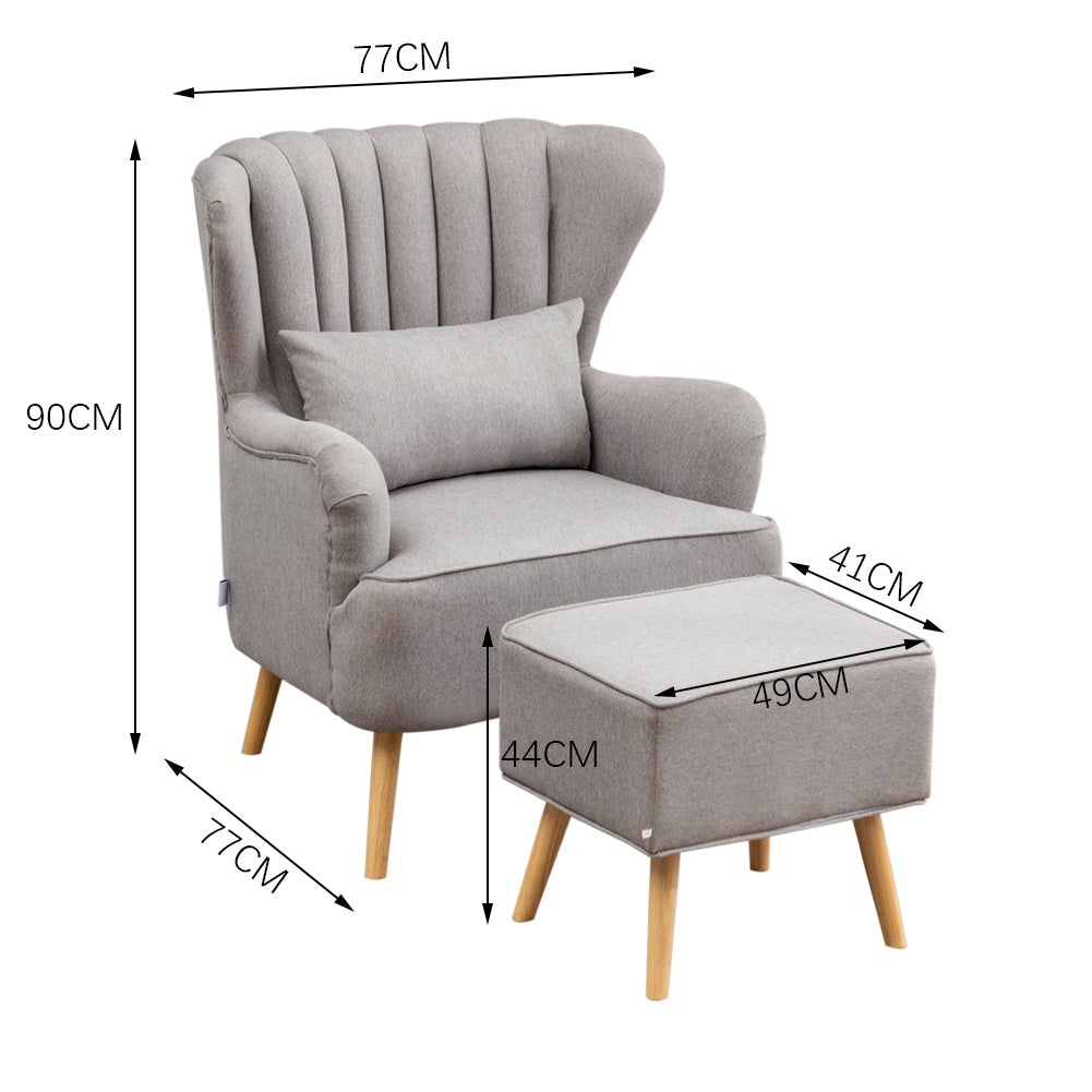 Grey Linen Armchair and Footstool