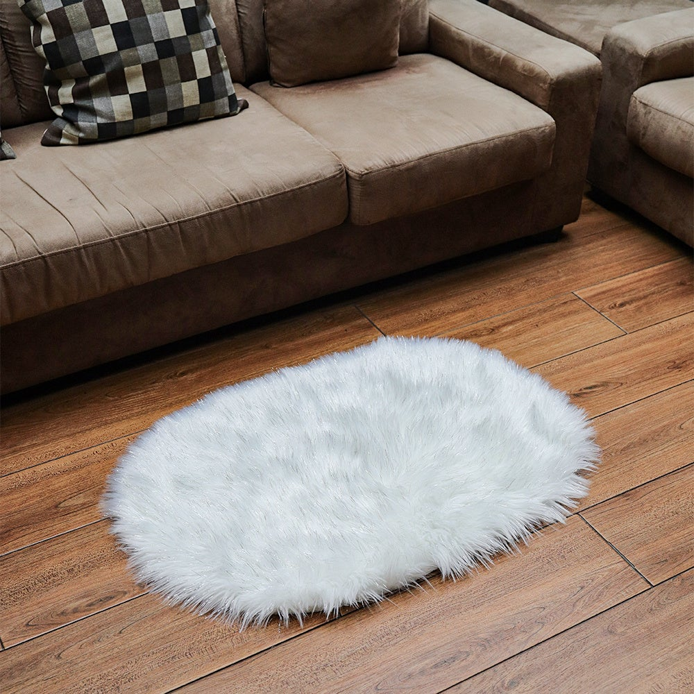White Flash Oval Faux Fur Sheepskin Area Rugs