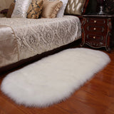 White Oval Fluffy Shaggy Sheepskin Area Rugs