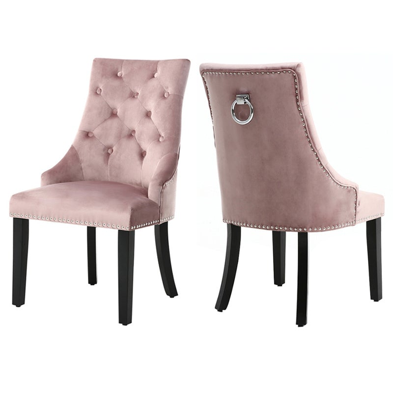 Set of 2 Tufted Velvet Dining Chairs