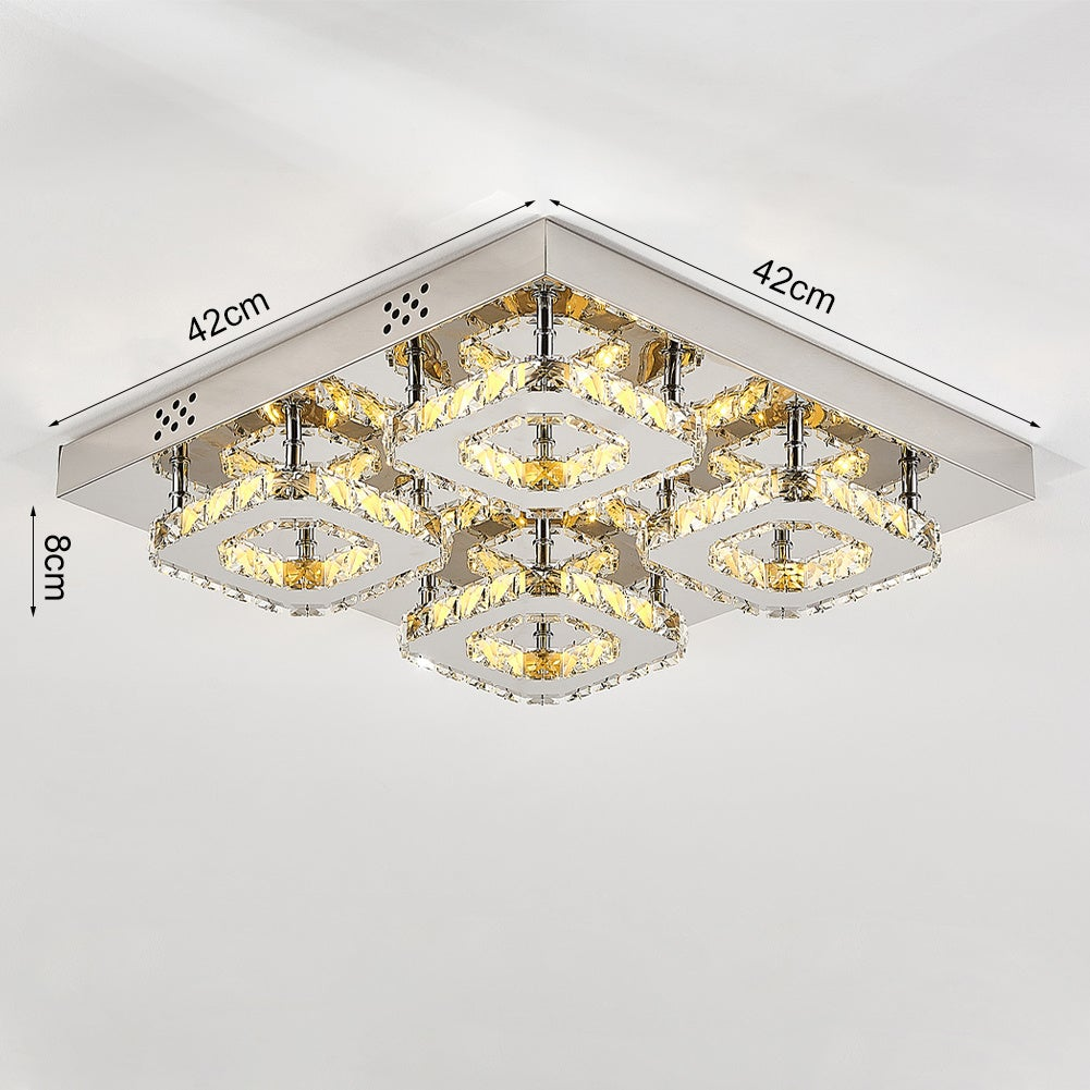 Square LED Ceiling Light with Crystal Heads