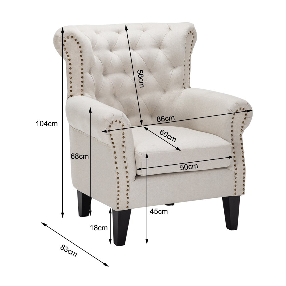 Linen Chesterfield Tub Chair Armchair