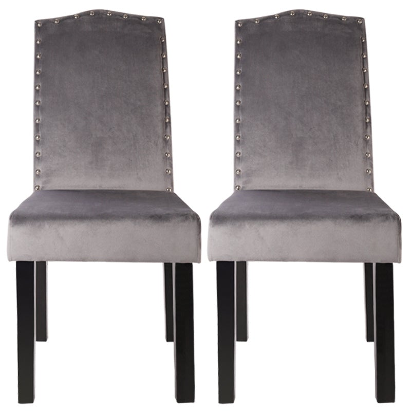 Set of 2 Grey Velvet Dining Chairs