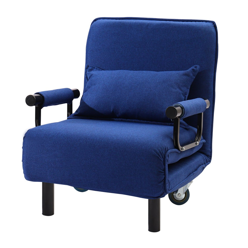 Blue Linen Single Folding Sofa Bed Chair