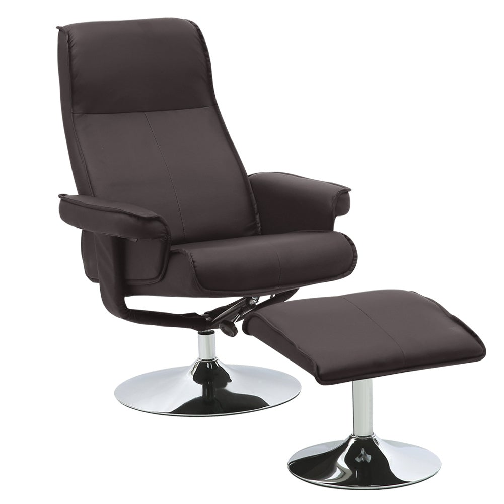 PU Leather Swivel Reclining Armchair with Footstool