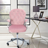 Velvet Office Chair with Button