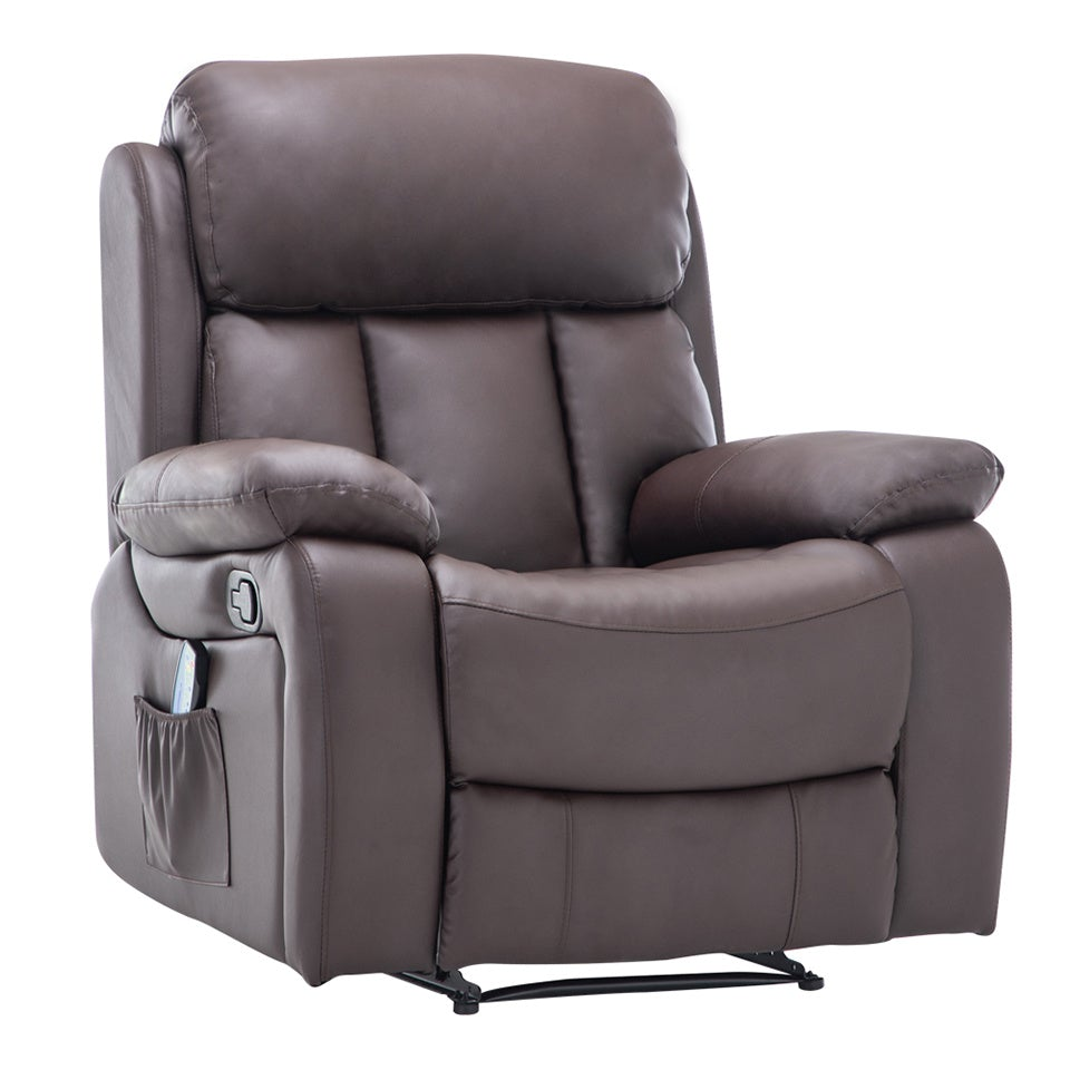 Bonded Leather Heated Massage Sofa Recliner Armchair