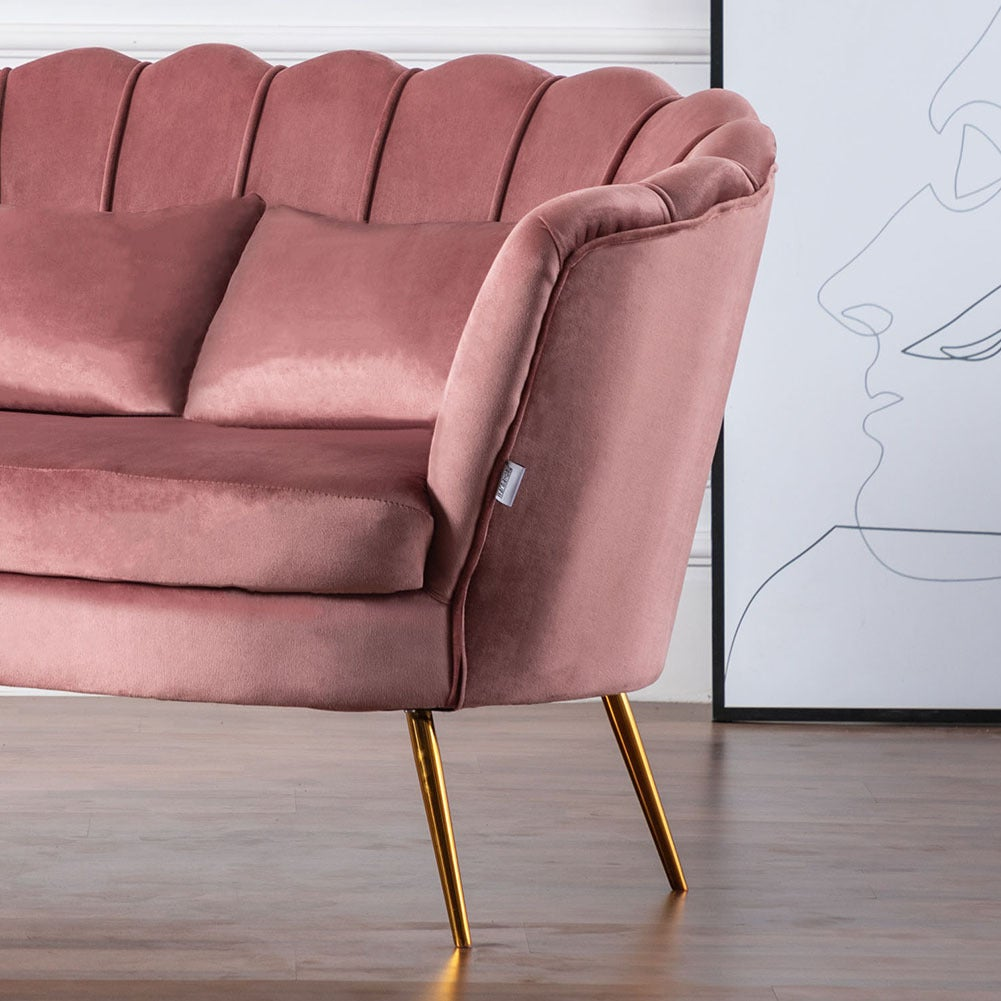 Pink Plush Velvet Scalloped Shell Lotus 2 Seater Sofa