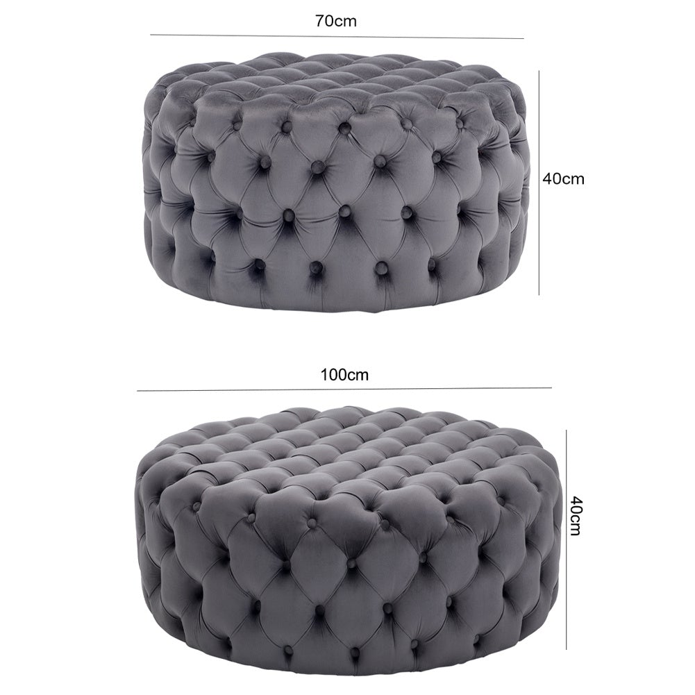 Grey Round Velvet Buttoned Footstool