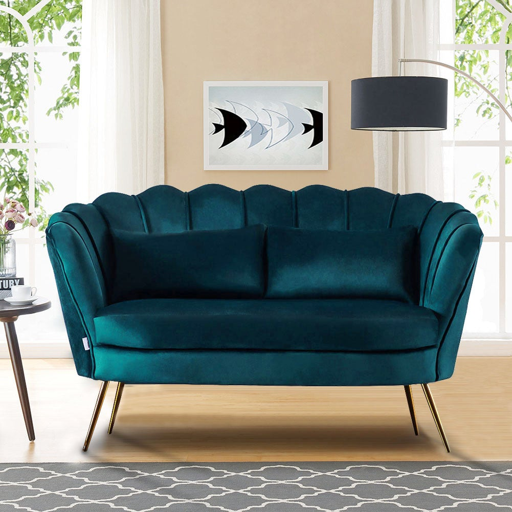 Dark Green Plush Velvet Scalloped Shell Lotus 2 Seater Sofa