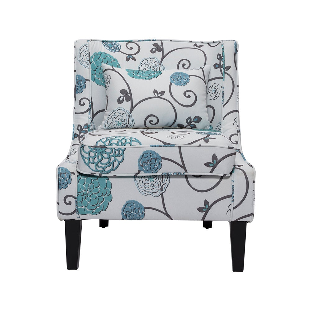 Backrest Floral Fabric Accent Chair with Cushion
