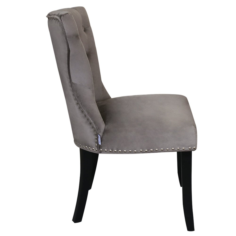 Set of 2 Buttoned Velvet Dining Chairs