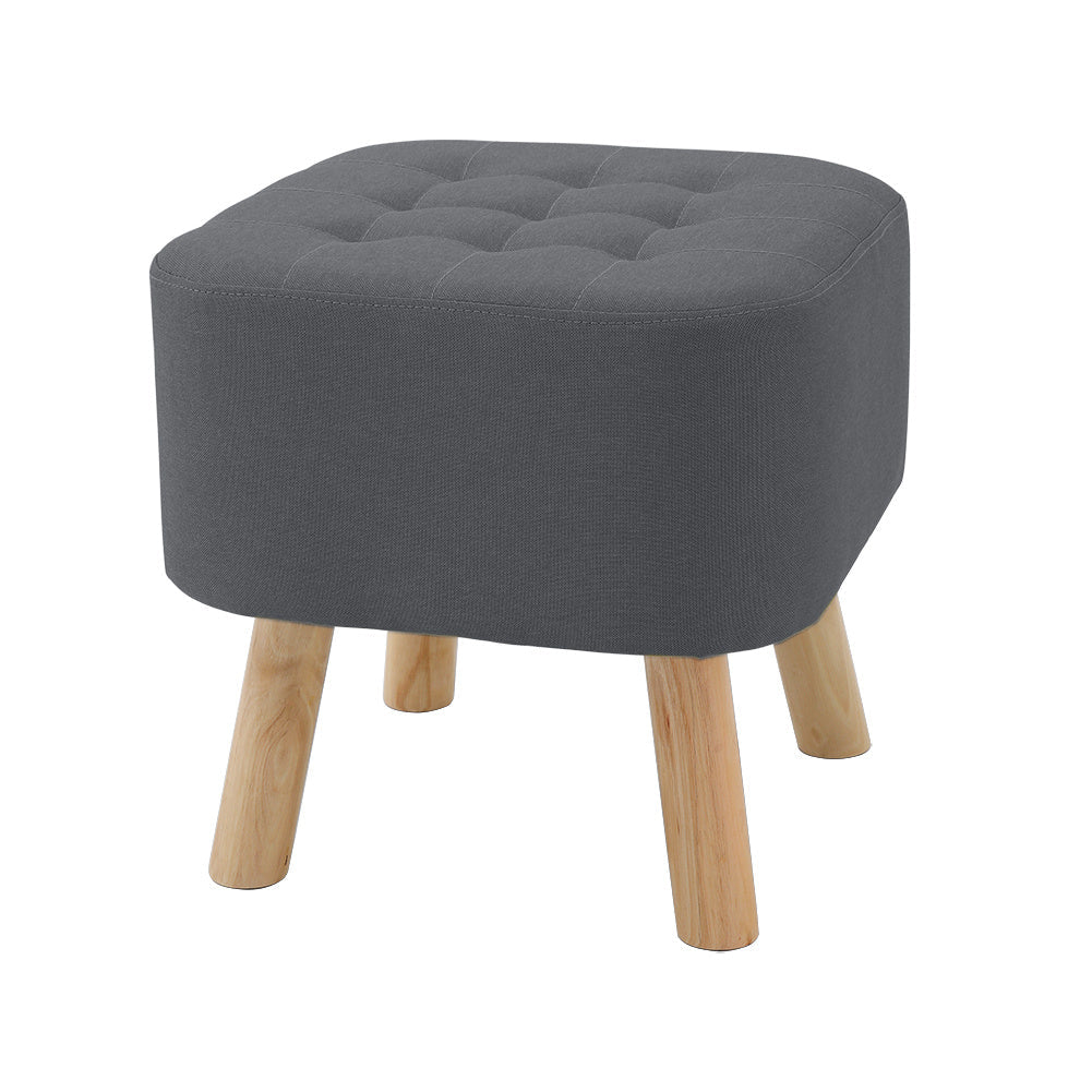 Square Linen Footstool