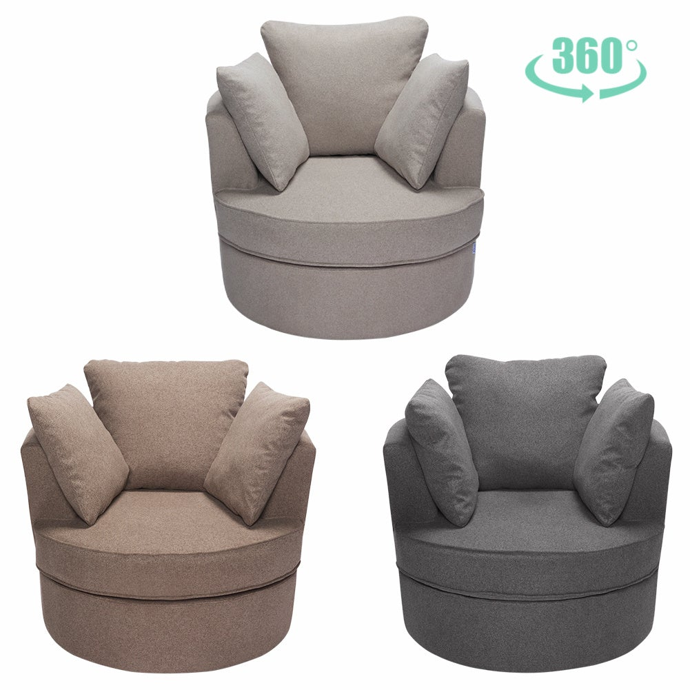Linen Round Single Rotating Sofa Armchair