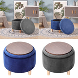 Round Ottoman Storage Footstool with Plank