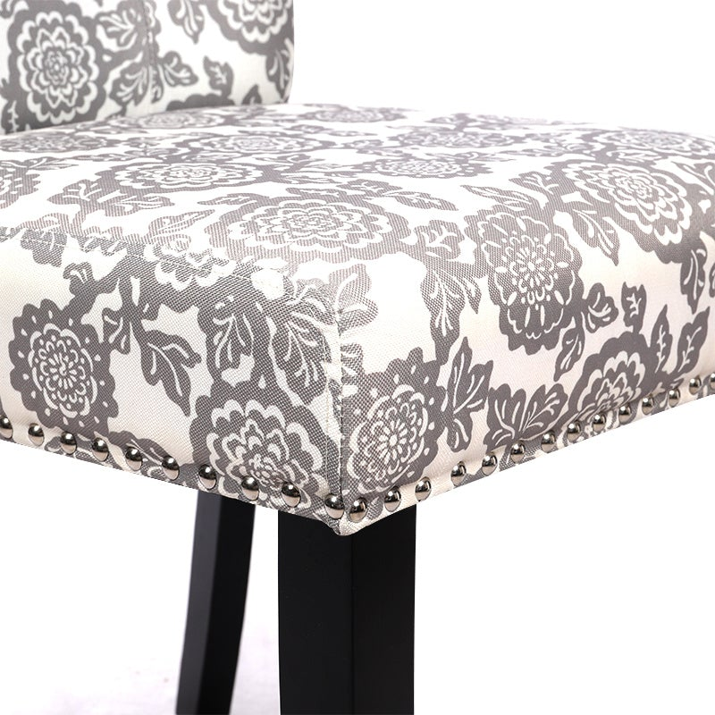 Set of 2 Beige Flower Printed Linen Dining Chairs