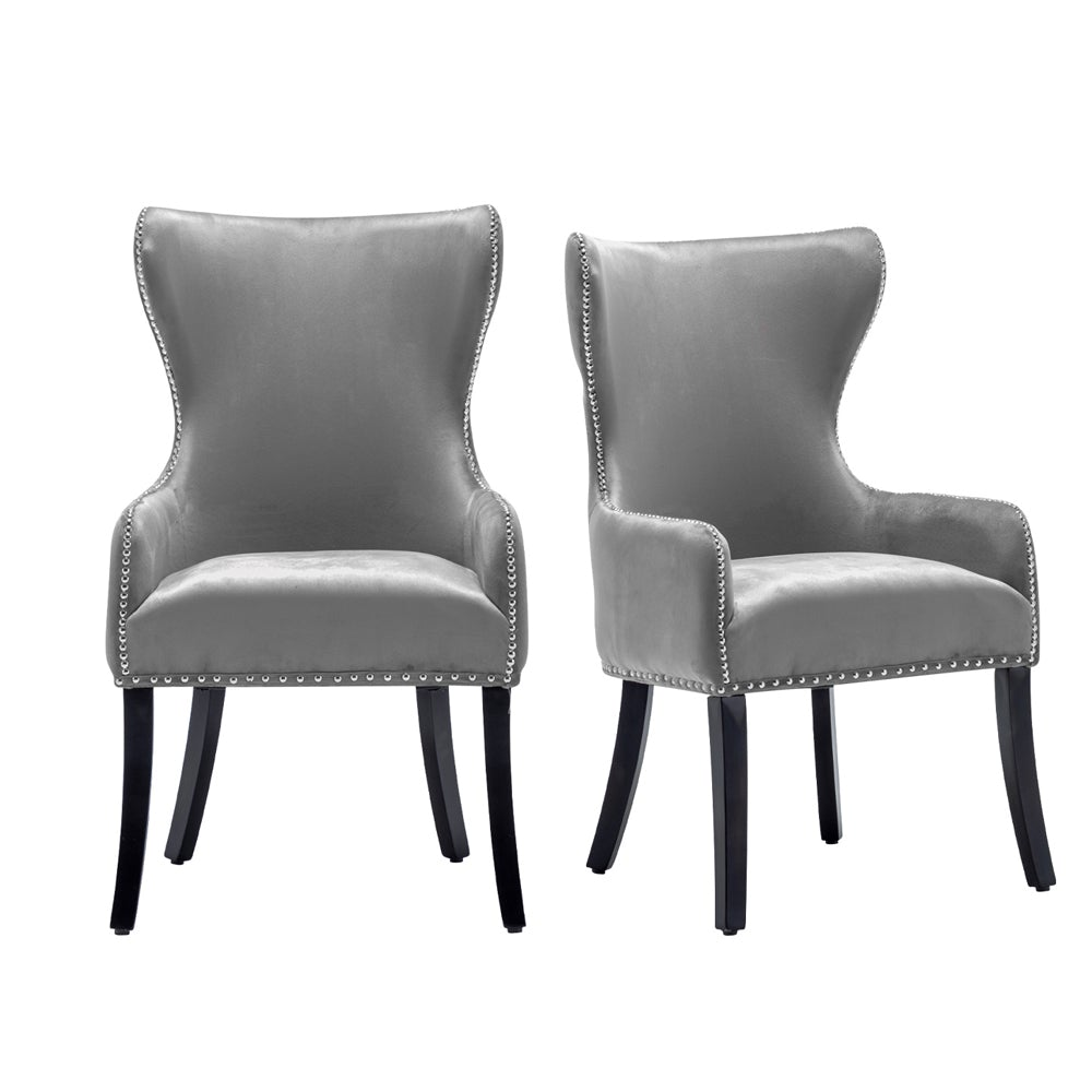 Set of 2 High Back Velvet Accent Dining Chairs