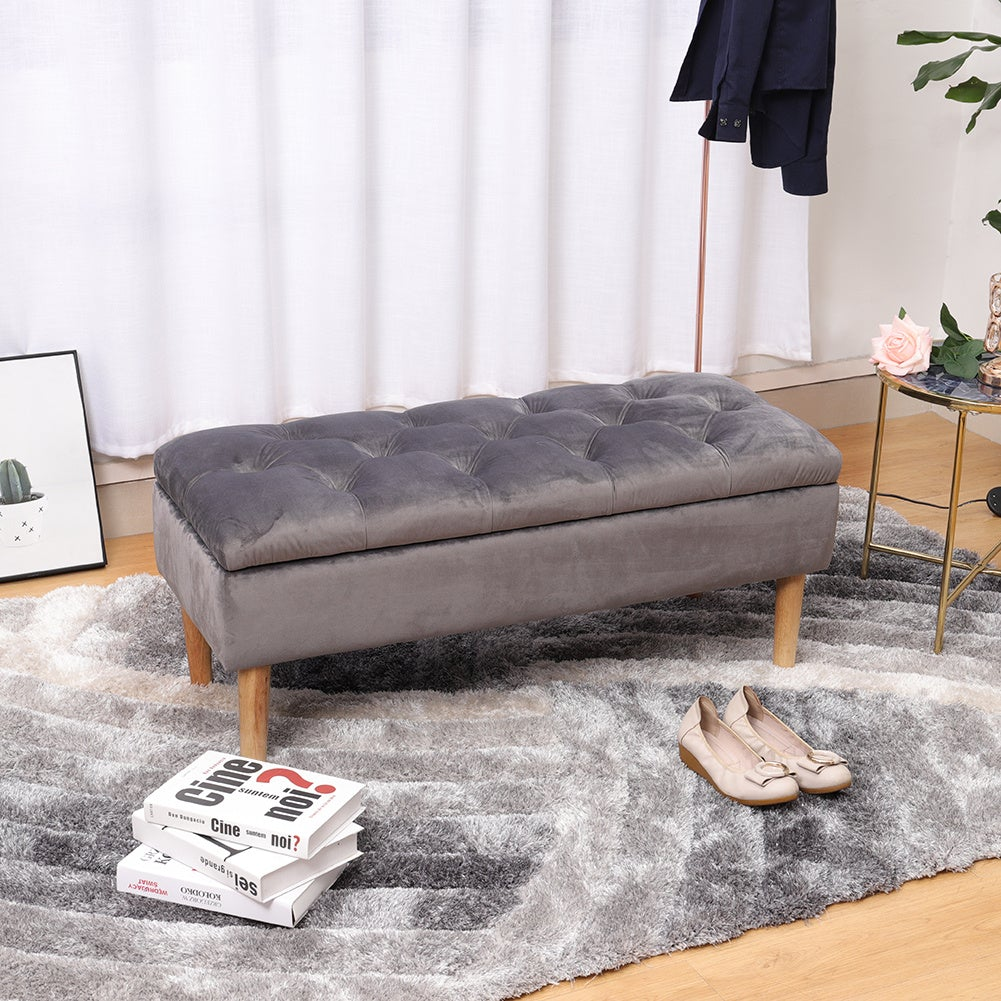 Velvet Upholstered Storage Bench