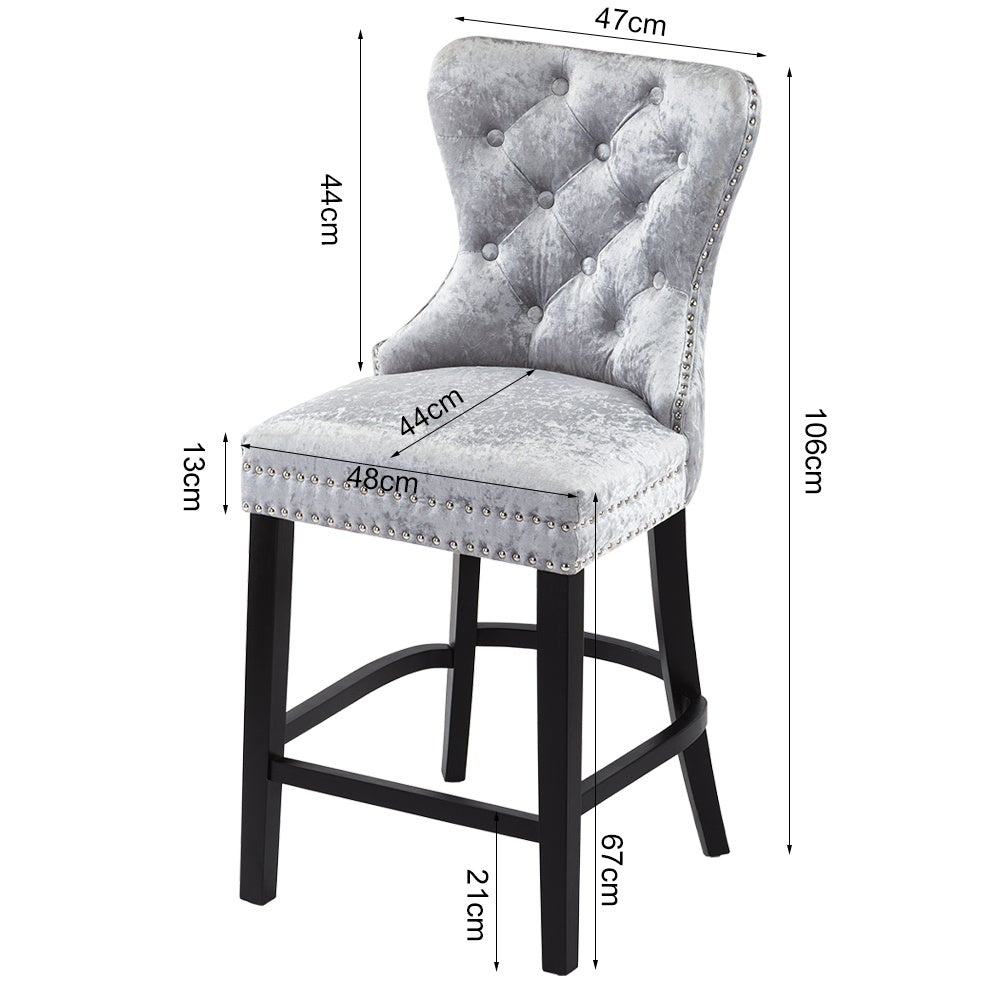 Silver Velvet Buttoned Dining Bar Chair
