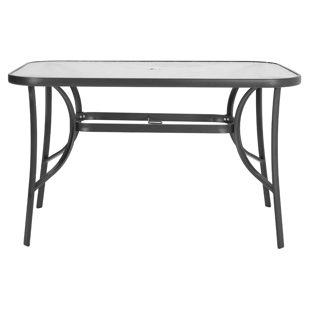 Garden Ripple Rectangular Table With Umbrella Hole Or 2/4/6 Stacking Chairs