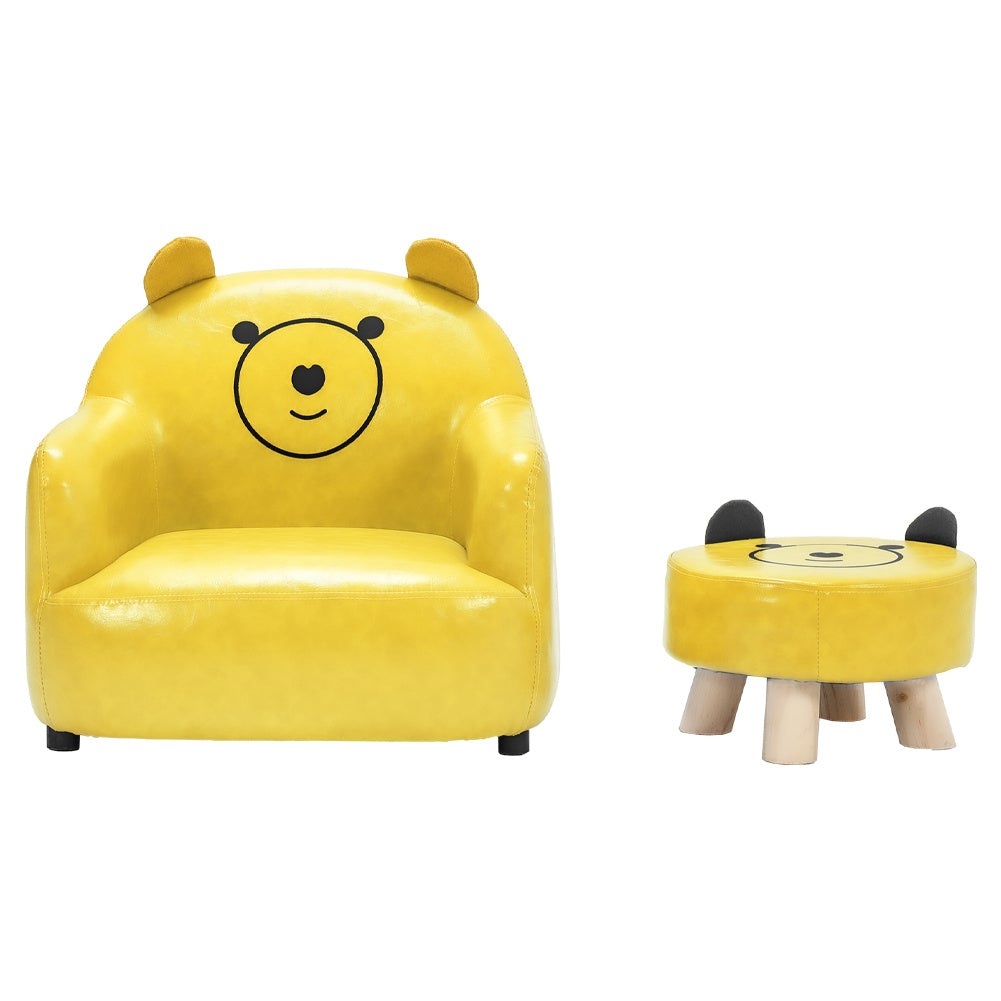 Kids PU Leather Armchair Small Sofa and Footstool
