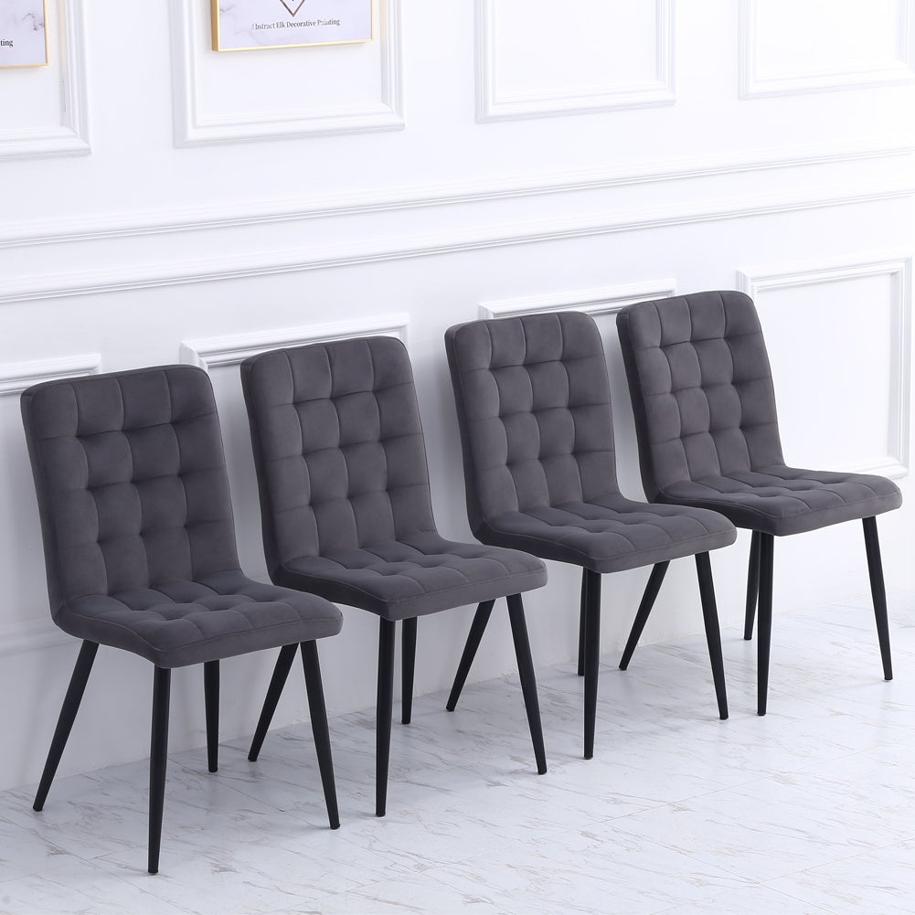 Set of 4 Upholstered High Back Dining Chairs