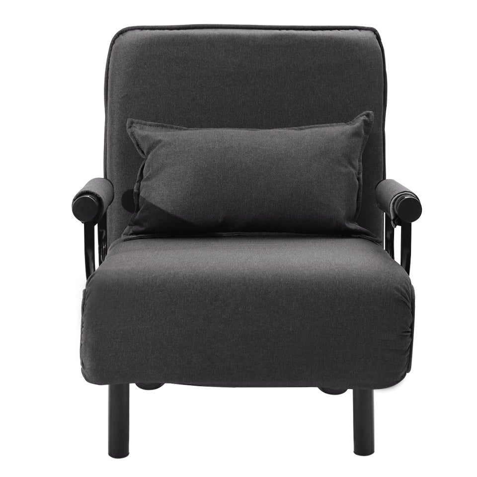 Black Linen Single Folding Sofa Bed Chair