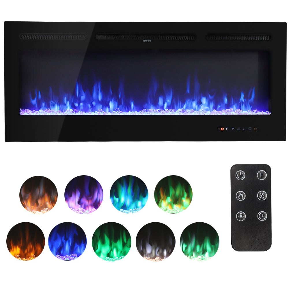 50 Inch Led Electric Fireplace Heater 9 Flame Colours