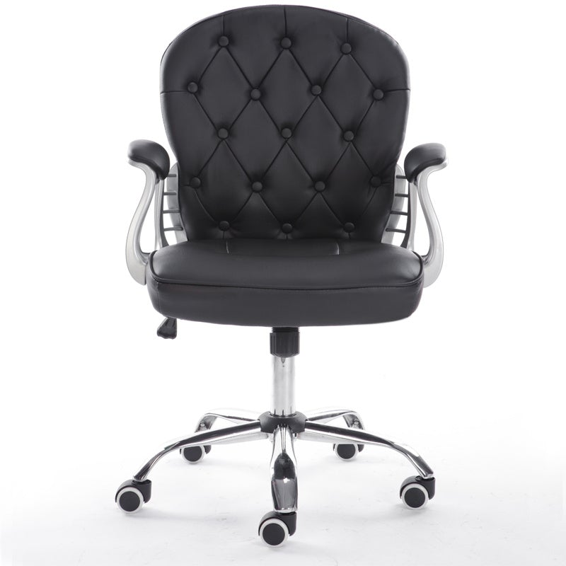 Faux Leather Office Chair with Button