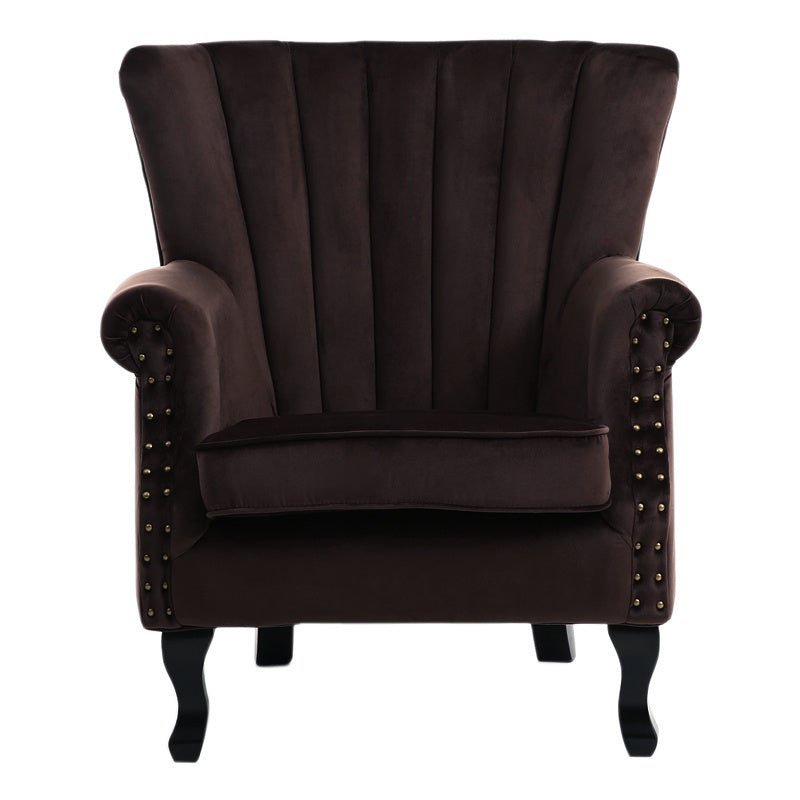 Velvet Pleated Wingback Armchair