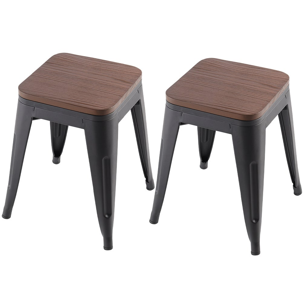 Set of 2/4 Wooden Surface Metal Dining Chairs