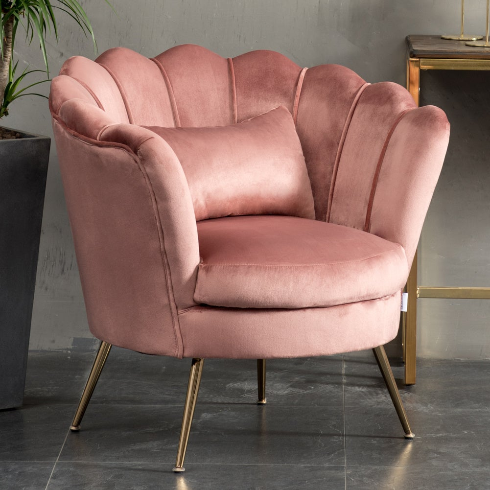 Rose Velvet Scalloped Chair With Cushion