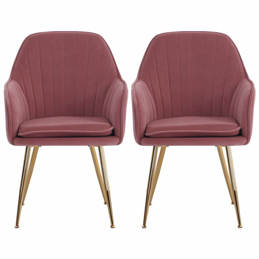 Set of 2 Velvet with Pad Dining Chairs