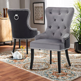 Set of 2 Velvet Buttoned Dining Chairs