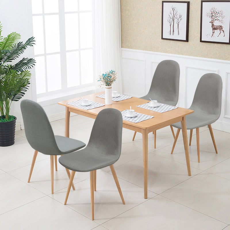 Set of 4 Grey Linen Dining Chairs