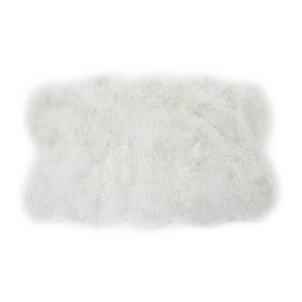White Flash Irregular Faux Fur Sheepskin Area Rugs