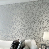Silver Grey Simple Floral Wallpaper