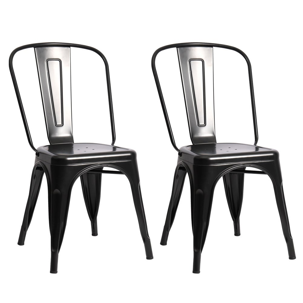 Set of 2/4 Modern Black Rust Metal Dining Chairs