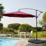 3M Wine Red Sun Parasol Hanging Banana Umbrella
