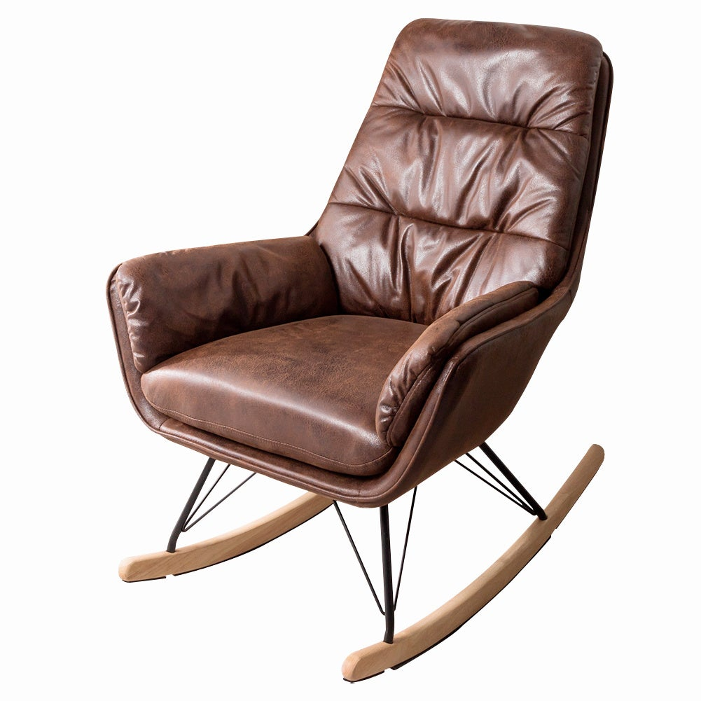 Bronzing Leather Rocking Chair Armchair