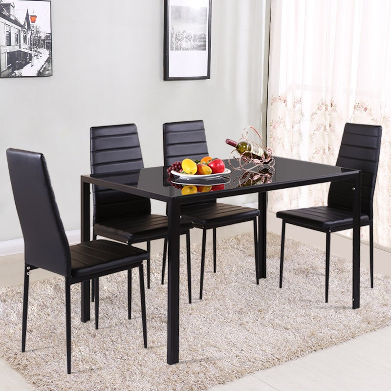 Glass Dining Table and Set of 4 Faux Leather Dining Chairs
